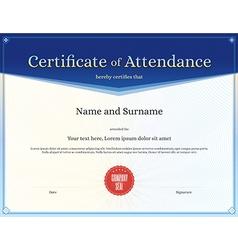 Certificate of attendance template blue vector