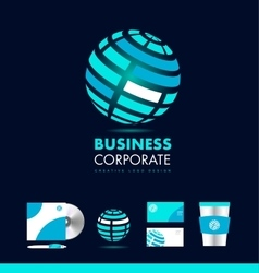 Corporate business glowing sphere logo vector