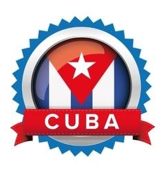 Cuba flag button badge vector