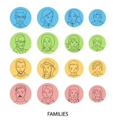 Families avatar set thin line vector