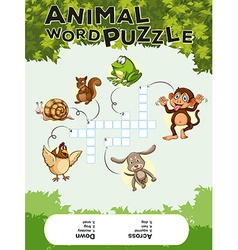 Game template for animal word puzzle vector image
