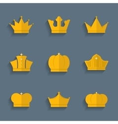 Gold crown set vector