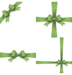 Green ribbon bow isolated on white EPS 10 vector image