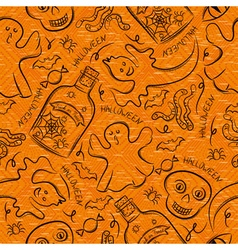 Halloween seamless Pattern with ghost skull vector image vector image