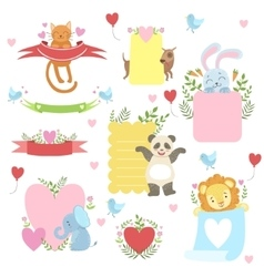 Message template set with cute animals vector