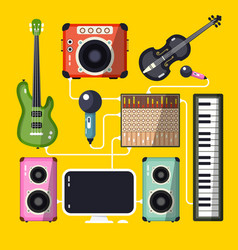 musical instruments and devices on yellow vector image