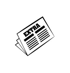 Newspaper extra news daily line vector