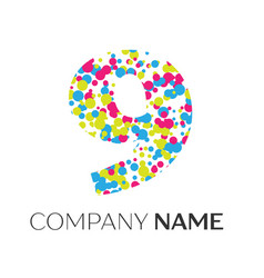 number nine logo with blue yellow red particles vector image