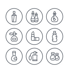 Perfume and cosmetic line icons set vector