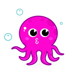 Pink cartoon octopus vector image vector image