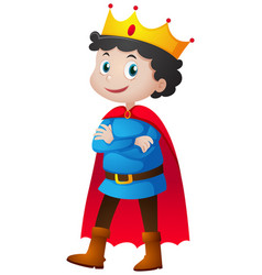 prince with red cape and crown vector image