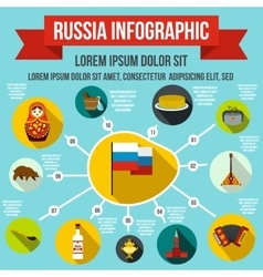Russia infographic elements flat style vector image