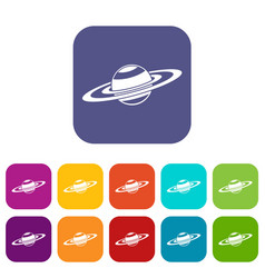 Saturn rings icons set vector