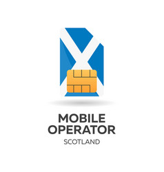 Scotland mobile operator sim card with flag vector