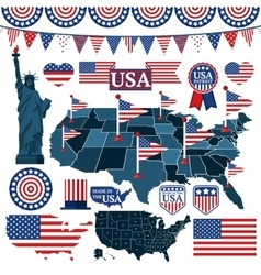 Set of USA symbols flags and maps with states vector image