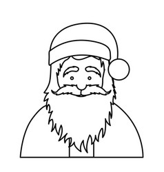 Silhouette half body cartoon santa claus portrait vector