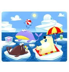 Summer or winter at the north pole vector