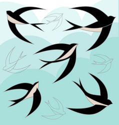 Swallow bird set vector
