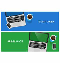 Top view laptop computer banners vector