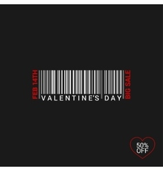 Valentines Day Bar Code Logo Background vector image vector image