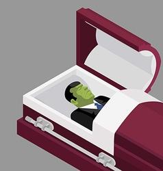 Zombie in coffin green dead man lying in wooden vector