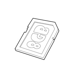 Memory card 8 gb icon outline style vector