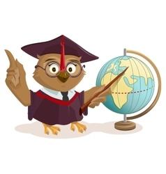 Owl teacher and globe vector image