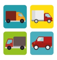 collection trucks delivery icons design vector image