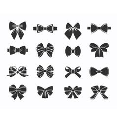 Black decorative bows icons set vector