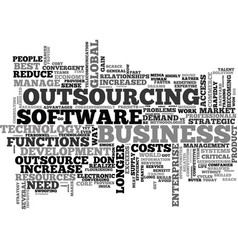 Why outsource work text word cloud concept vector