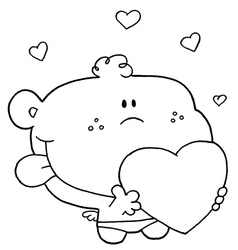 Cartoon baby with heart vector image