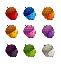 Cartoon colorful acorn icons set vector