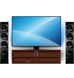 Tv on a stand and home theater vector