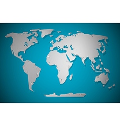 Paper Cut World Map with Bent Corners on blue vector image