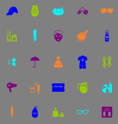 Facial and body treatment fluorescent color icons vector