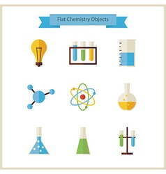 Flat school chemistry and science objects set vector