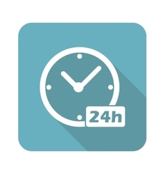 Square 24h workhours icon vector