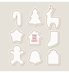 Silhouettes of gingerbread cookies homemade vector