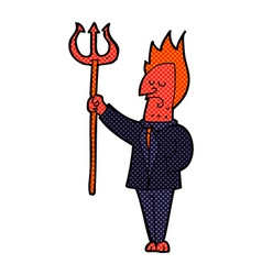 Comic cartoon devil with pitchfork vector
