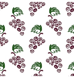Seamless fruits pattern with grape vector