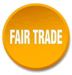Fair trade orange round flat isolated push button vector