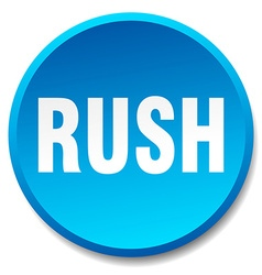 Rush blue round flat isolated push button vector