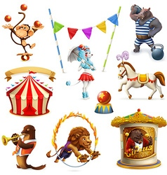 Circus funny animals set of icons mesh vector image