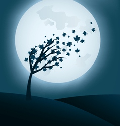 autumn night background with falling leaves vector image vector image