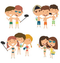 Beach male and female characters make a selfie vector