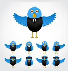 Blue cartoon business bird vector