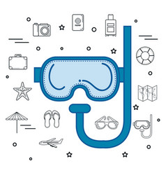 Blue snorkel design vector