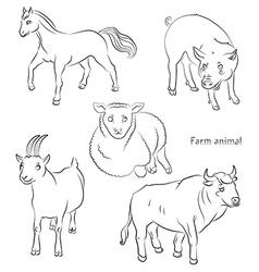bull goat horse pig sheep vector image vector image