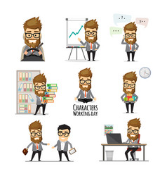 businessman working day infographic elements vector image