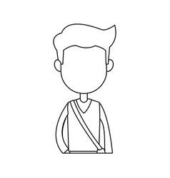 cartoon young boy student avatar vector image